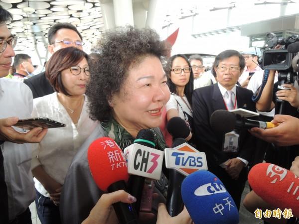 對於吳敦義指自己在市長任內幾乎完成整治愛河,總統府秘書長陳菊認為,這是選舉語言參考就好。(記者王榮祥攝)