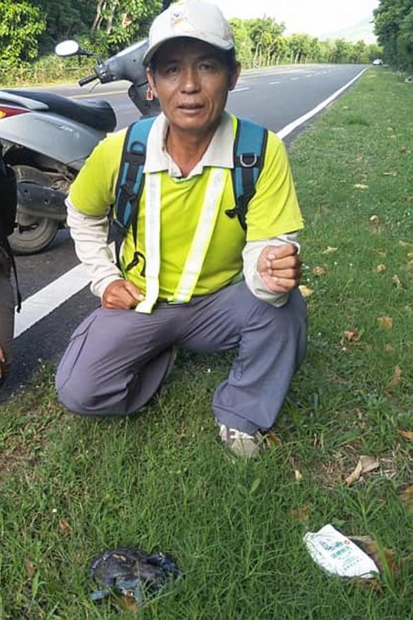 古清芳記錄下遭路殺輾碎的椰子蟹。(記者蔡宗憲翻攝)