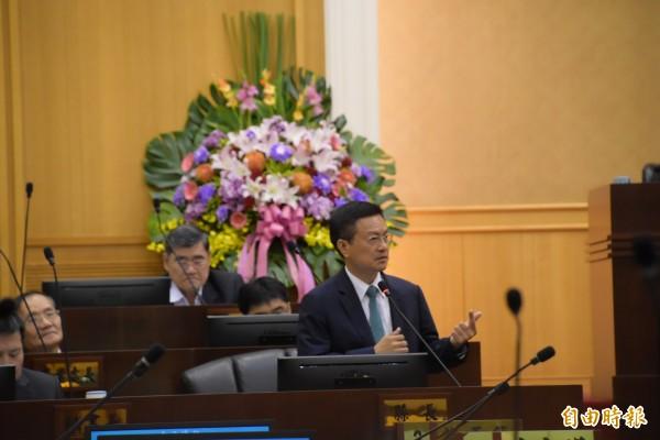 魏明谷從頭到尾都表明南彰化沒有蓋捷運的需求。(記者張聰秋攝)