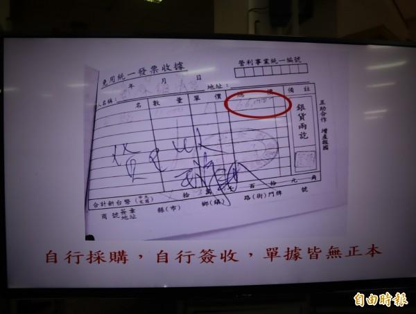 鎮清宮管委會在議會中提出收據等,質疑前主委王涼洲帳目不清。(記者歐素美攝)