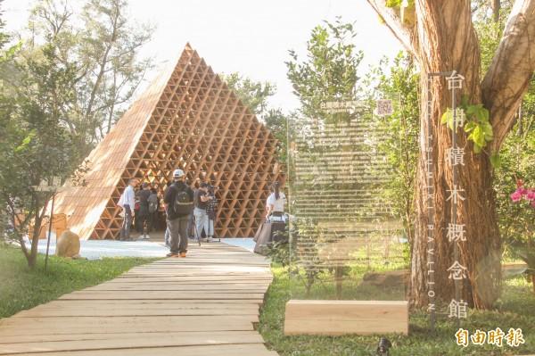 「台開三角積木概念館」,結合茶花,讓民眾欣賞到建築與茶花之美。(記者歐素美攝)
