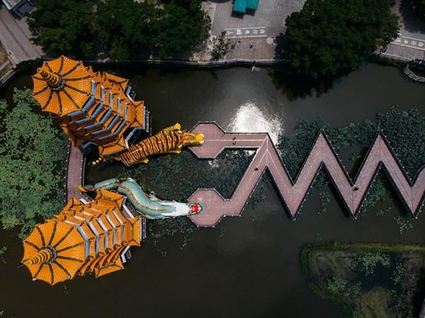 日本名攝影師佐藤健壽拍攝左營蓮池潭。(高市觀光局提供)