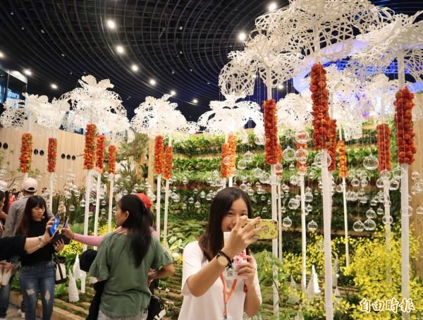 花博后里園區的「花舞館」,花團錦簇,遊客爭相拍照留念。(記者歐素美攝)