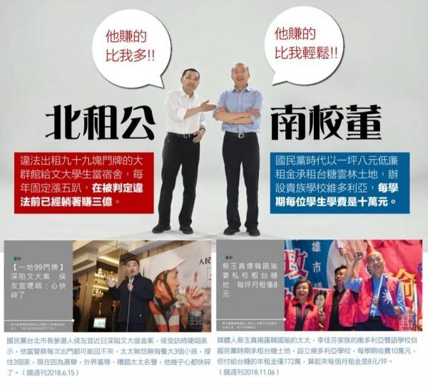 網友諷侯友宜與韓國瑜是「北租公、南校董」。(記者賴筱桐翻攝)