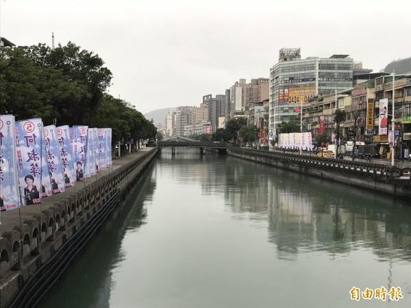 選戰倒數計時,各種競選旗幟和廣告物紛紛出籠。(記者林欣漢攝)