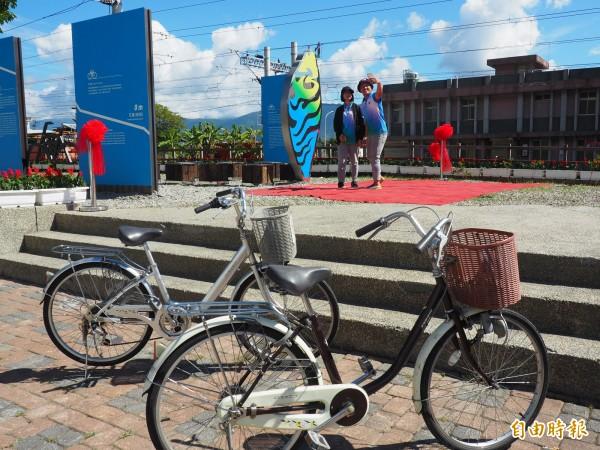 關山環鎮自行車道是國內第一條觀光休閒專用自行車道,來此一遊還能到關山自行車打卡點拍照留念。(記者王秀亭攝)