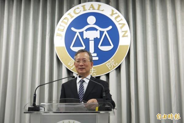 司法院祕書長呂太郎宣布769號解釋合憲案。(記者吳政峰攝)