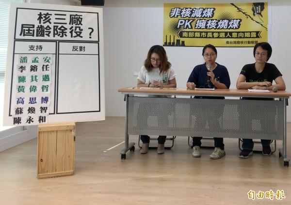 非核減煤PK擁核燒煤?南台灣廢核行動聯盟公布台南、高雄、屏東等縣市長候選人問卷調查結果。(記者葛祐豪攝)