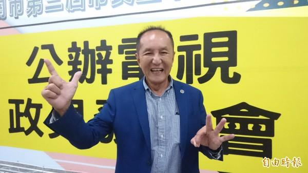 無黨籍台南市長候選人林義豐表示,當選後第一件將成立招商局。(記者劉婉君攝)