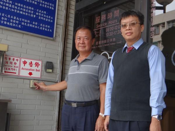 張榮志(左)怒告墾丁里長張昌益等人。(記者蔡宗憲翻攝)