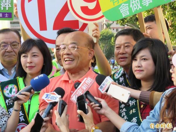 民進黨新北市長候選人蘇貞昌。(記者陳心瑜攝)