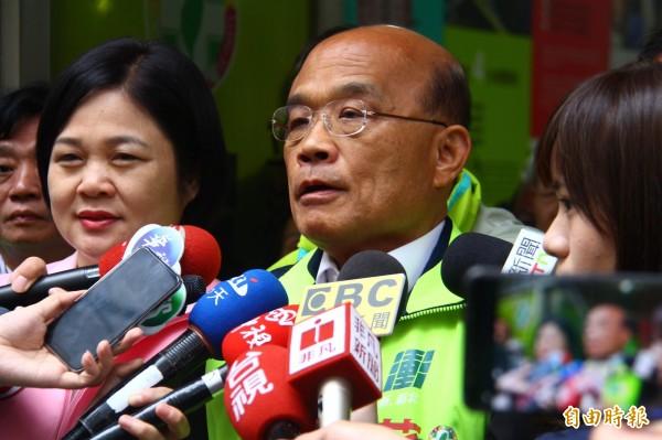 對於美國在臺協會主席莫健的示警,蘇貞昌表示,不能讓境外勢力干擾,甚至讓目的得逞。(記者邱書昱攝)