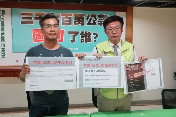 郭國文(右)與蔡瑞堂(左)公布「南區國際光點」計畫事證,指控高思博安插家族成員擔任要職。(黃偉哲總部提供)