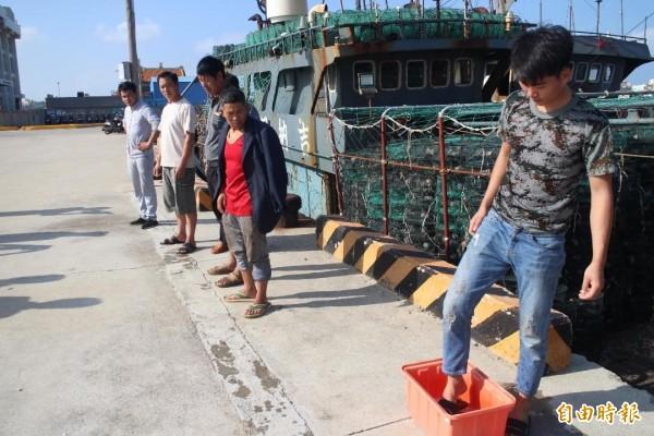 中國非洲豬瘟肆虐,查扣的中國漁工都要先消毒再入境。(記者劉禹慶攝)