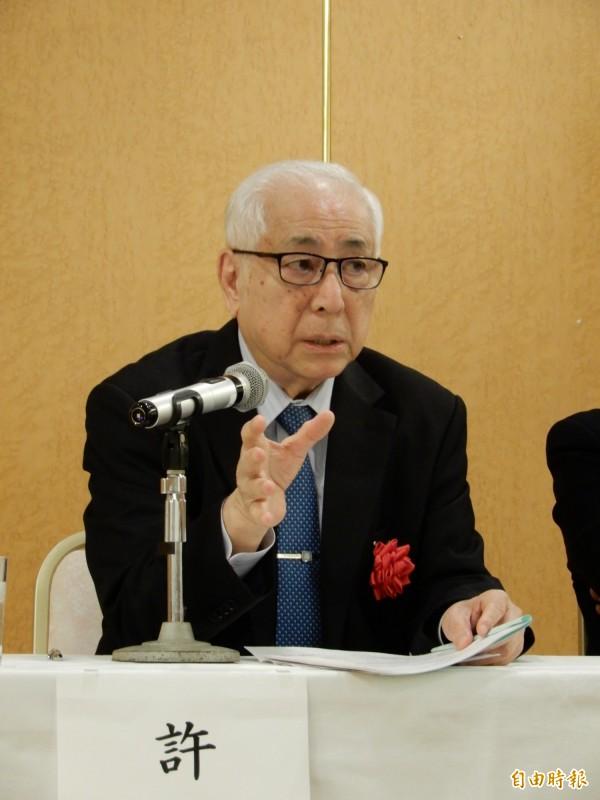 出席「台灣有事與日本的應對」研討會的前駐日代表許世楷。(記者林翠儀攝)