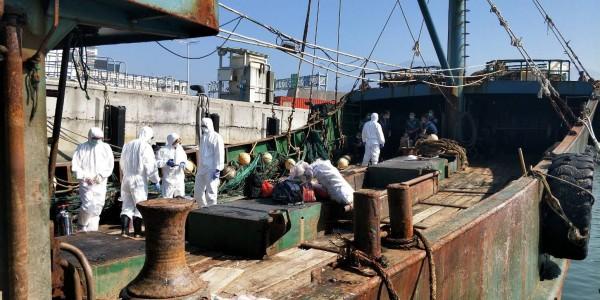海巡署新竹海巡隊在新竹外海查獲越界捕魚的中國漁船。(記者洪美秀翻攝)
