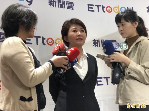 台中市長當選人盧秀燕表示,明天會公布副市長人選。(記者陳昀攝)
