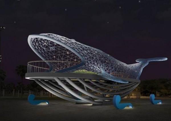 台南大型環境藝術「大魚的祝福」模擬示意圖。(台南市觀光旅遊局提供)