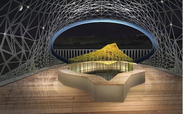 「大魚的祝福」裝置藝術模擬示意圖,民眾可進入「魚肚內」,向外觀看海景。(台南市觀光旅遊局提供)