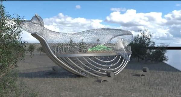 港濱歷史公園設置大型環境藝術創作「大魚的祝福」模擬示意圖。(台南市觀光旅遊局提供)