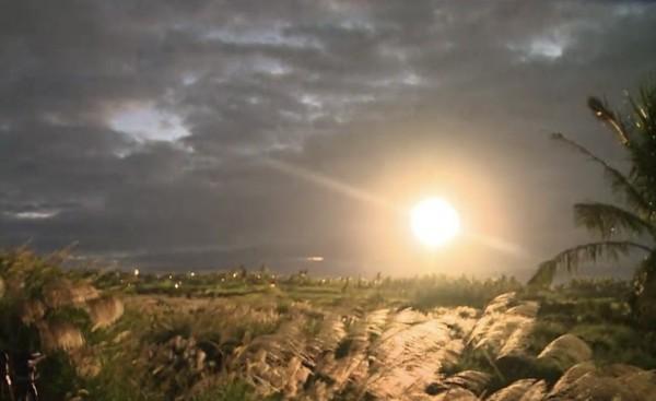 中科院今天清晨在三仙台風景區內試射飛彈。(民眾提供)
