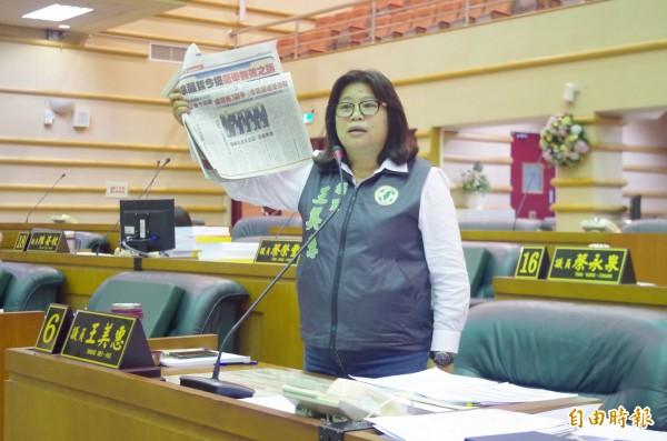 民進黨議員王美惠今質詢涂醒哲,如提選舉無效之訴,將傷害民進黨。(記者王善嬿攝)