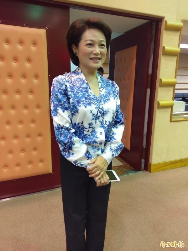 競選市長失利的議長蕭淑麗表示,對涂陣營提選舉無效之訴,不予置評。(記者王善嬿攝)