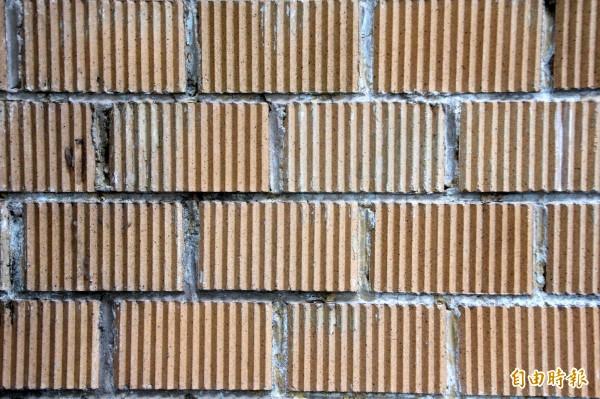 鹿草鄉立圖書館的十三溝面磚。(記者林宜樟攝)