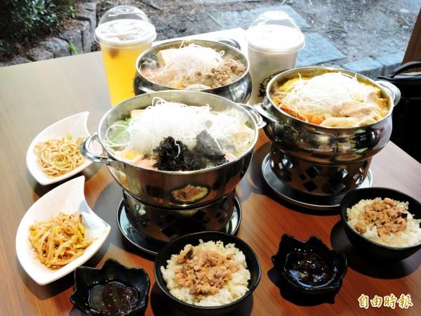三屏鍋家設計多種亞洲風鍋物。(記者張菁雅攝)