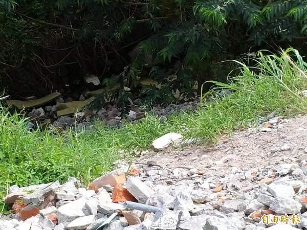 陳情人懷疑不肖人士自117號縣道新湖路111巷進入,自溪岸上方將營建廢棄物倒入野溪河床,近半個月陸續偷倒數卡車。(記者廖雪茹攝)