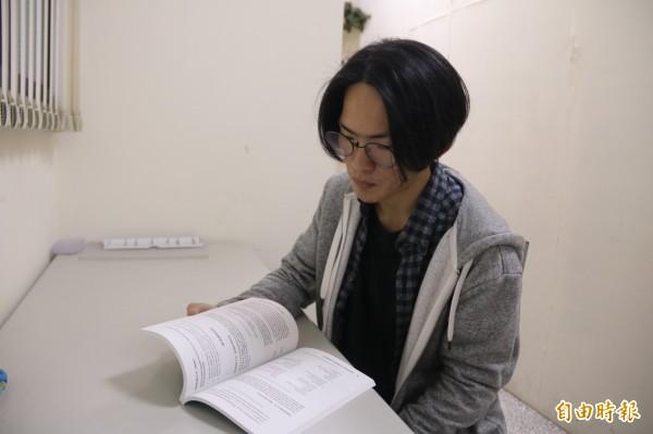 弘光科大應英系大三學生莊傳皓,網路自學看國外影片多益考900分 。(記者張軒哲攝)
