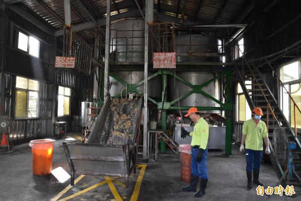 雲林虎尾廚餘蒸煮廠目前一天處理6公噸廚餘。(記者黃淑莉攝)