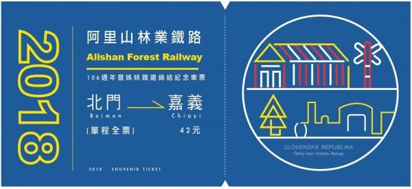 阿里山林鐵及文資處結合我國及斯洛伐克國旗元素,首度推出「雙紀念車票」,圖為車票圖樣。(阿里山林鐵及文資處提供)