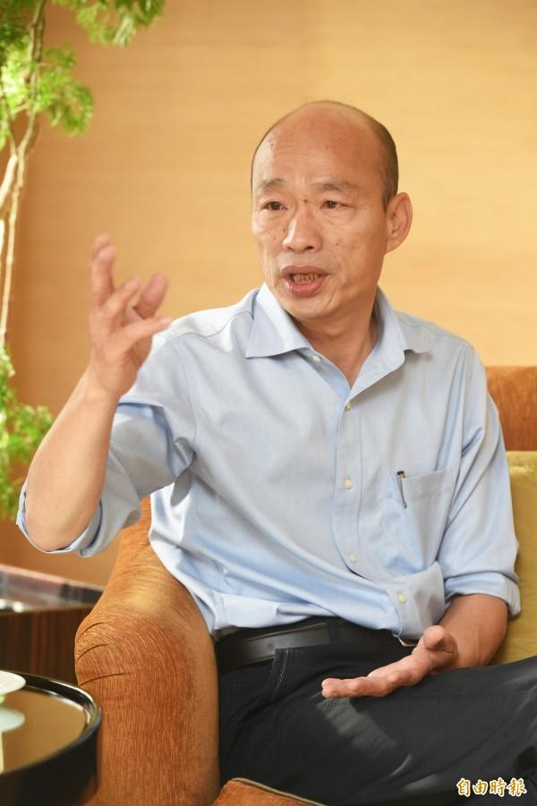 韓國瑜接受本報專訪暢談市政議題。(記者張忠義攝)