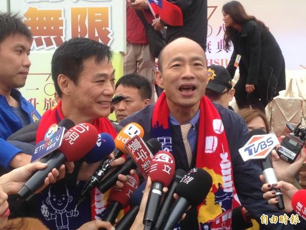 韓國瑜稱,過去熱愛國家感情被壓抑。(記者黃旭磊攝)