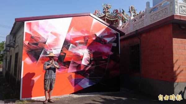 國內外5個國家的藝術家結合台南漁光島在地建築環境進行創作,作品目前已經完成。(記者劉婉君攝)