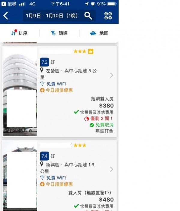「韓流」消退了嗎?網友蒐尋訂宿網站,高雄平價飯店也有不到4百元房價,破除台南旅宿競價「殺紅海」謠言。(擷自臉書)