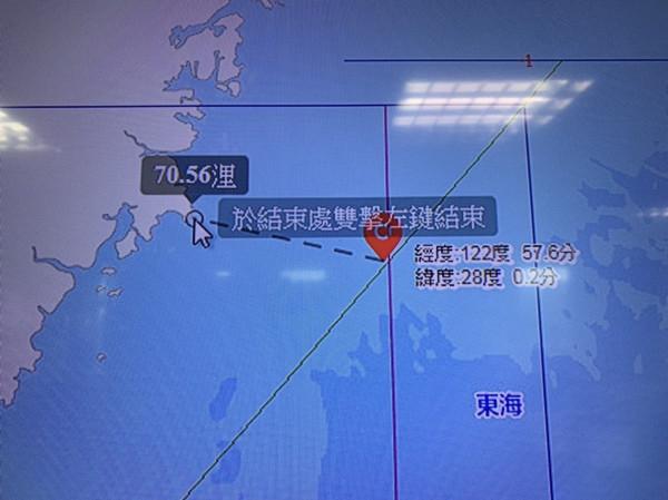 帛琉籍雜貨輪落海地點屬中國搜救區,最靠近浙江省溫州市與台州市中間的環海村。(記者陳薏云翻攝)