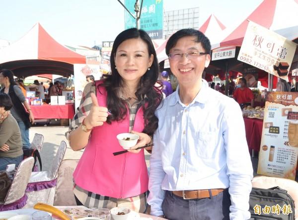 外傳謝龍介出馬角逐台南立委補選,一樣擁有眾多支持者的國民黨市議員林燕祝深表認同,說她會全力相挺。(記者吳俊鋒攝)