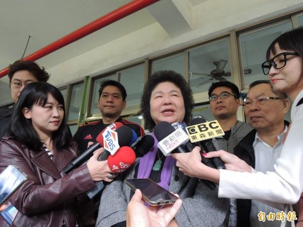 对于小英总统是否连任,陈菊认为民进党有一定机制(记者王荣祥摄)