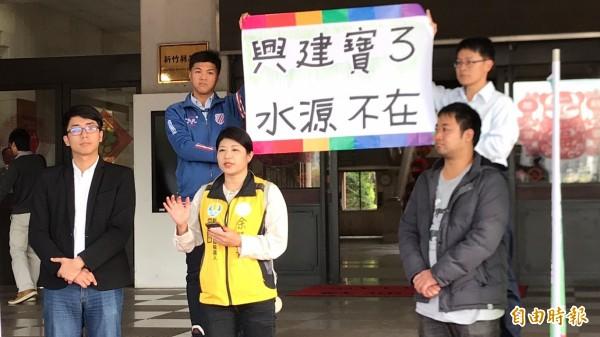 绿党新竹县议员余筱菁(前中)今天抗议县长杨文科盖「宝三」水库说,提出绿党5大诉求。(记者黄美珠摄)