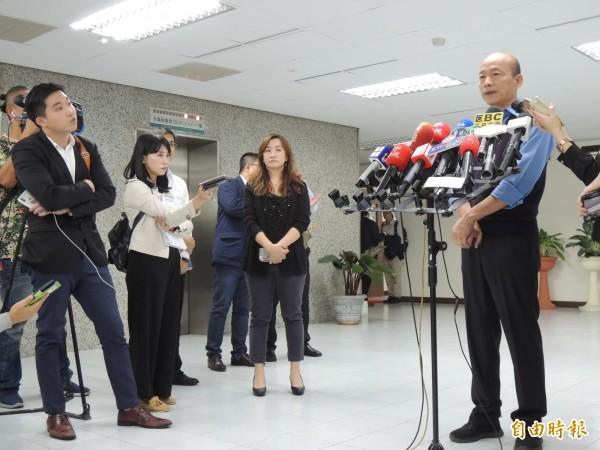 高雄市長韓國瑜今對九二共識爭議提出看法(記者王榮祥攝)