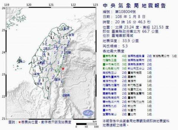 台東發生芮氏規模5.3有感地震,連南投也感受到明顯搖晃。(記者劉濱銓翻攝)