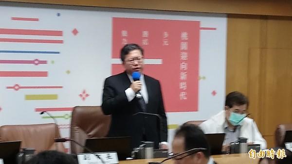 桃园市长郑文灿于市政会议对主管说重话,要求清廉服务、强调贪污零容忍。(记者谢武雄摄)