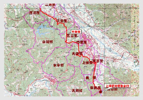 竹東圳圳路總長約21公里的位置圖。(擷取自新竹農田水利會官網)