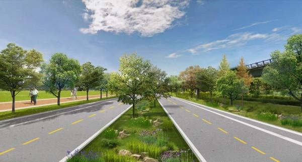 富源-瑞北路段未來將整合鐵公路隙地,擴大中央綠帶及西側道路設施帶(圖右測)。(圖:公路總局提供)