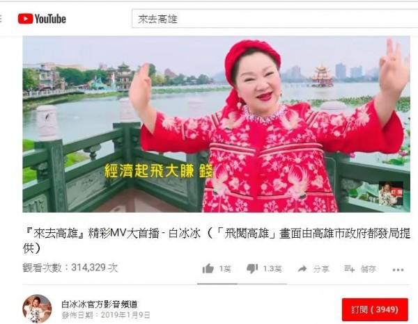 白冰冰自掏腰包為高雄拍製「來去高雄」宣傳影片。(擷自YouTube「白冰冰官方影音頻道」 )