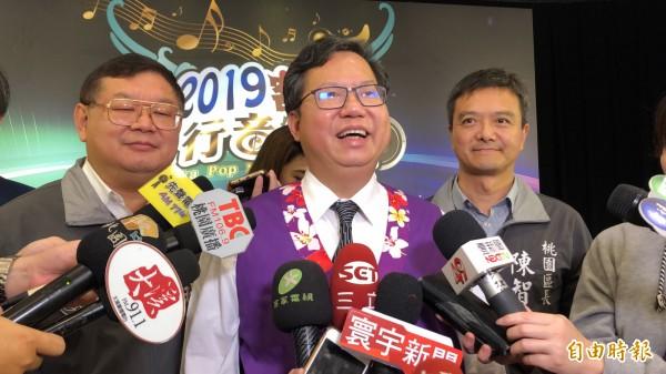 苏贞昌回锅接掌阁揆,桃园市长郑文灿大赞,他是走正道、做实事的人。(记者魏瑾筠摄)