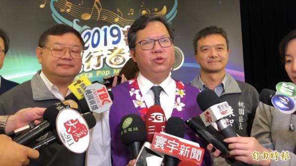 赖清德挑战2020「蔡赖配」?桃园市长郑文灿表示,政治剧本我不知道。(记者魏瑾筠摄)