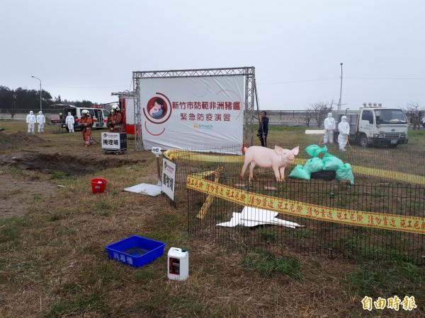 新竹市政府上午舉行非洲豬瘟防疫演習,動員相關單位參與,並請養豬業者參與,從通報,檢疫到撲殺,焚燒及掩埋消毒,要求落實各項防疫細節。(記者洪美秀攝)